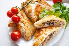 Homemade puff pastry with chicken and mushroom Stock Images