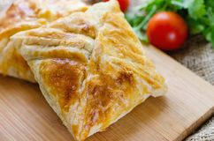 Homemade puff pastry with chicken and mushroom Stock Photo