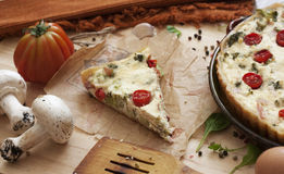 Homemade puff pie with cottage cheese. Background Royalty Free Stock Photos