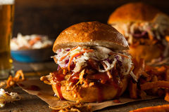 Homemade Pulled Chicken Sandwich royalty free stock images