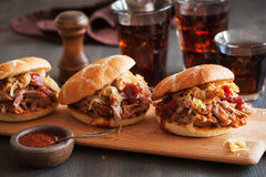 Homemade pulled pork burger with caramelized onion and bbq sauce royalty free stock image