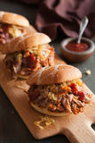 Homemade pulled pork burger with caramelized onion and bbq sauce Royalty Free Stock Images