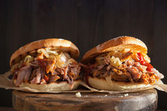 Homemade pulled pork burger with caramelized onion and bbq sauce royalty free stock photos