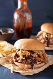 Homemade pulled pork burger with coleslaw and bbq sauce Stock Image