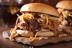 Homemade pulled pork burger with coleslaw and bbq sauce Stock Images