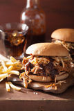 Homemade pulled pork burger with coleslaw and bbq sauce Stock Photos