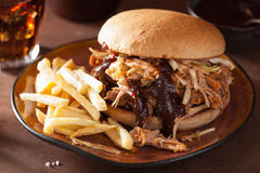 Homemade pulled pork burger with coleslaw and bbq sauce Royalty Free Stock Photos