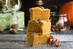 Homemade pumpkin bars with sugar-cinnamon crust. For the holiday and for every day stock photos