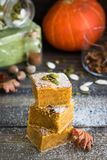 Homemade pumpkin bars with sugar-cinnamon crust. For the holiday and for every day stock images