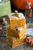 Homemade pumpkin bars with sugar-cinnamon crust. For the holiday and for every day royalty free stock images