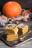 Homemade pumpkin bars with sugar-cinnamon crust. For the holiday and for every day stock image