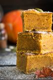 Homemade pumpkin bars with sugar-cinnamon crust. For the holiday and for every day stock photography