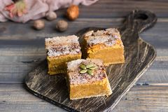 Homemade pumpkin bars with sugar-cinnamon crust. For the holiday and for every day royalty free stock photography