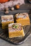 Homemade pumpkin bars with sugar-cinnamon crust. For the holiday and for every day royalty free stock image