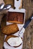 Homemade pumpkin bread with cream cheese icing Stock Photos
