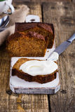 Homemade pumpkin bread with cream cheese icing Stock Photography