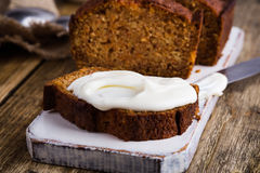 Homemade pumpkin bread with cream cheese icing Stock Photo