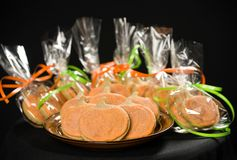 Homemade pumpkin cookies on  black. Background Stock Images