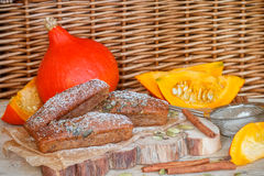 Homemade pumpkin financier cake with cinnamon and cardamom. Autumn spiced cakes Stock Images