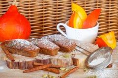 Homemade pumpkin financier cake with cinnamon and cardamom. Autumn spiced cakes Royalty Free Stock Photos