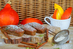 Homemade pumpkin financier cake with cinnamon and cardamom. Autumn spiced cakes Royalty Free Stock Image
