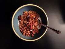 Homemade pumpkin granola with milk and spoon on dark background. A bowl of homemade pumpkin spice granola with raisins and pecans is served in a bowl with milk Stock Photos