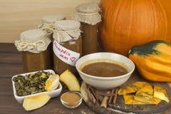 Homemade pumpkin jam and cinnamon. Sweet children's menu. Preserving domestic products. Stock Photos