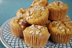 Homemade pumpkin oatmeal muffins Royalty Free Stock Images