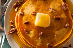 Homemade Pumpkin Pancakes with Butter Royalty Free Stock Photography