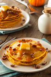 Homemade Pumpkin Pancakes with Butter Royalty Free Stock Images
