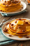 Homemade Pumpkin Pancakes with Butter Stock Image