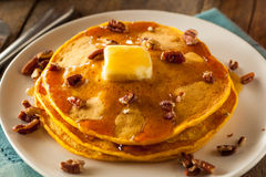Homemade Pumpkin Pancakes with Butter Royalty Free Stock Image
