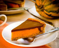 Homemade pumpkin pie with chocolate topping Stock Images