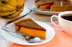 Homemade pumpkin pie with chocolate topping Stock Photography