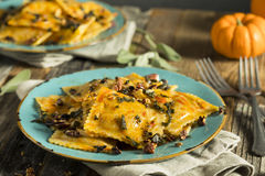 Homemade Pumpkin Ravioli with Butter Sauce Royalty Free Stock Images