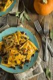 Homemade Pumpkin Ravioli with Butter Sauce Stock Image