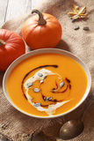 Homemade pumpkin soup for Thanksgiving Stock Image