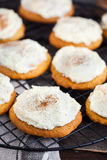 Homemade pumpkin spice cake cookies with glaze and cinnamon Royalty Free Stock Images