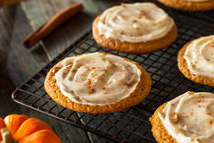 Homemade Pumpkin Spice Cookies. With Cream Cheese Frosting Stock Image