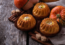 Homemade pumpkin spice cupcakes. Selective focus Stock Images