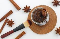 Homemade pumpkin spice facial mask/scrub made with ripe pumpkin puree, sugar and honey, cinnamon powder and ground coffee. stock photography