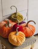 Homemade pumpkins for Halloween. Decoration Royalty Free Stock Photo