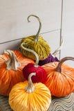 Homemade pumpkins for Halloween. Decoration Royalty Free Stock Photos
