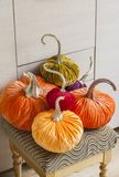 Homemade pumpkins for Halloween.Exclusive designer pumpkins for decorating the holiday of Halloween. Pumpkins made of corduroy fab Royalty Free Stock Photo