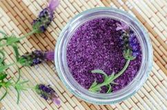 Free Homemade Purple Exfoliating Scrub Foot Soak, Bath Salt With Essential Lavender Oil. Lavender Flower In The Jar. Royalty Free Stock Photo - 152617975