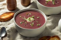 Homemade Purple Sweet Potato Soup. With Toast royalty free stock image