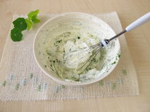 Homemade quark with herbs. In bowl Royalty Free Stock Photo