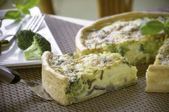 Homemade quiche with broccoli and cheddar Royalty Free Stock Image
