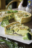 Homemade quiche with broccoli and cheddar Stock Image