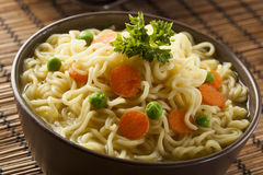 Homemade Quick Ramen Noodles Stock Photo